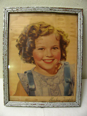Vintage Shirley Temple Color Photo w Frame and Child Signature AS IS