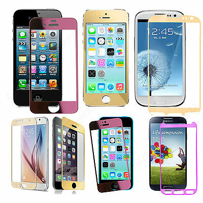 Full Curved Colorful Tempered Glass Film Screen Protector For Apple 6 5 Samsung