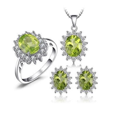 Jewelrypalace Princess 5.6ct Natural Peridot Jewelry Sets 925 Sterling Silver