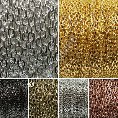 Lots High Quality Jewellery Making Chain Colorized Plated Chain Findings 4x3MM
