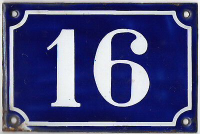 Old blue French house number 16 door gate plate plaque enamel metal sign c1900 • CAD $69.30