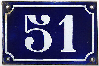 Old blue French house number 51 door gate plate plaque enamel metal sign c1900