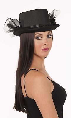 Gothic Goth Womens Fancy Top Hat Black Netting Adult Halloween Costume Accessory
