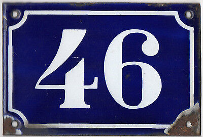 Old blue French house number 329 door gate plate plaque enamel metal sign c1900