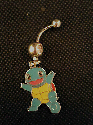 Pokemon Pikachu's Sqirtle friend Belly Ring Navel Ring 14G Surgical Steel