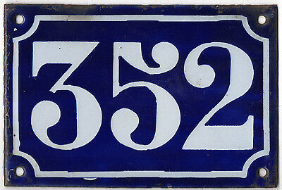 Old blue French house number 352 door gate plate plaque enamel metal sign c1900