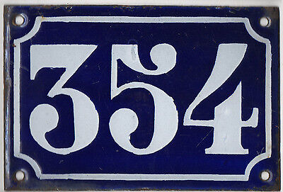 Old blue French house number 354 door gate plate plaque enamel metal sign c1900