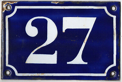 Old blue French house number 27 door gate plate plaque enamel metal sign c1900