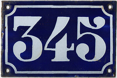 Old blue French house number 345 door gate plate plaque enamel metal sign c1900
