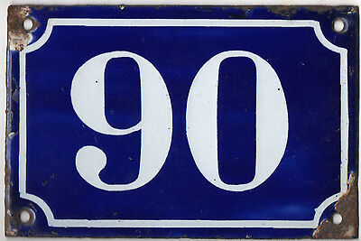 Old blue French house number 90 door gate plate plaque enamel metal sign c1900