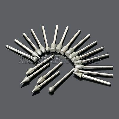 20x Diamond Coated Rotary Grinding Burrs Kit For Carve Polished Glass Stone Tool