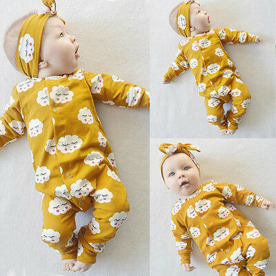 Newborn Infant Baby Girls Clothes Long Sleeve Romper Jumpsuit Outfit Sleepweaer