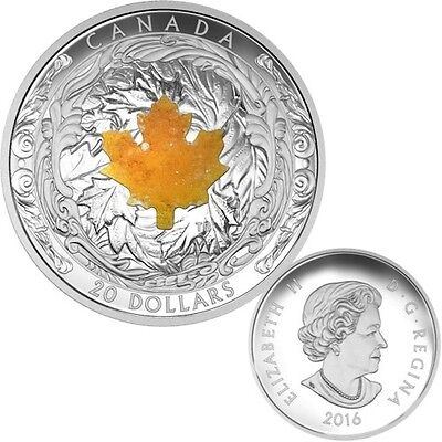 2016 Canada $20 Majestic Maple Leaves with Drusy Stone Fine Silver Coin
