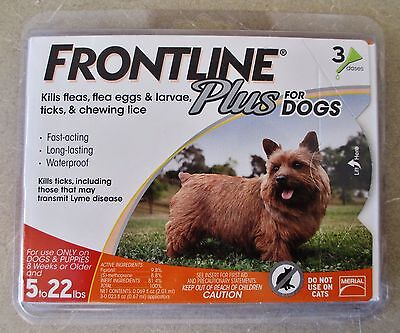 Frontline Plus For Dogs 3 Doses For Dogs 5 to 22 lb (Kills Fleas, Ticks, & Lice)