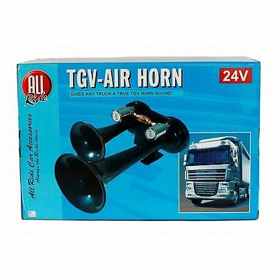 TGV Air Horn Truck 24V Lorry Tractor Train Van All Ride Twin Black