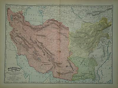 VINTAGE 1897 PERSIA MAP OLD ANTIQUE ORIGINAL 21x29 ATLAS MAP *FREE S&H DNR