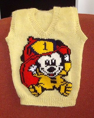 Fireman Mickey   Vest New Hand Knitted Size 2