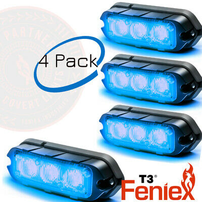 Feniex T3 LED Surface Mount warning strobe light 4 pack BLUE