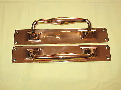 "Large Pair Commerical Solid Bronze Heavy One Piece Casting Door Handles 12"" Inch"