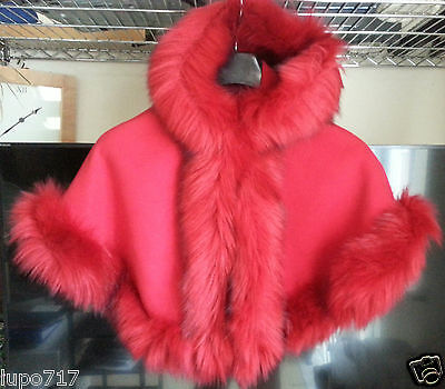 Red Kids Girls Fluffy Faux Fur Hooded Winter Cape Coat Poncho Sz S 2-4 Years New