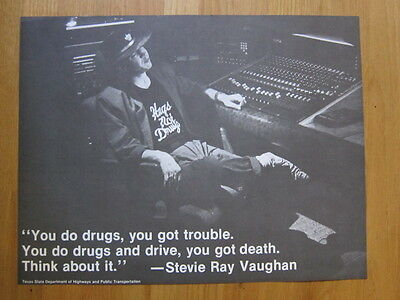 STEVIE RAY VAUGHAN Texas Highways Poster PSA You do Drugs Death Repro