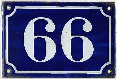Old blue French house number 66 or 99 door gate plate enamel metal sign c1900