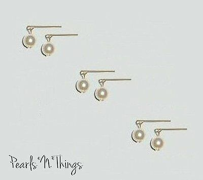"""3 Pair Of Antique Pearl Earrings Made For Miss Revlon And Other 18-20"""" Dolls"""