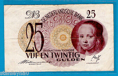 EX RARE Netherlands P77 25 Gulden THE GIRL by Johanes Vespronk 7.5.1945 VF+