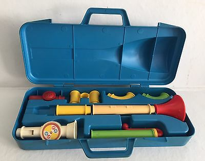 Fisher Price Vintage 1984 Crazy Combo Horn Set Complete Kazoo Horn Recorder