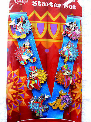 Disney MICKEY & FRIENDS - PARTY TIME * New 8 pin Starter Set with Lanyard & Card