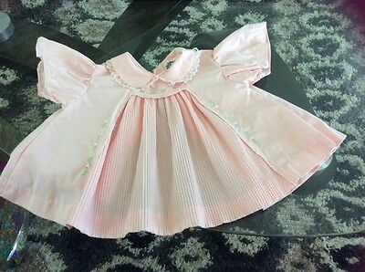 Vintage Baby Infant Pink Pleated Dress  Tiny Tots Original Excellent Condition