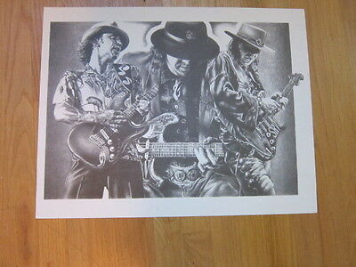 STEVIE RAY VAUGHAN 3 images b&w poster 17x22