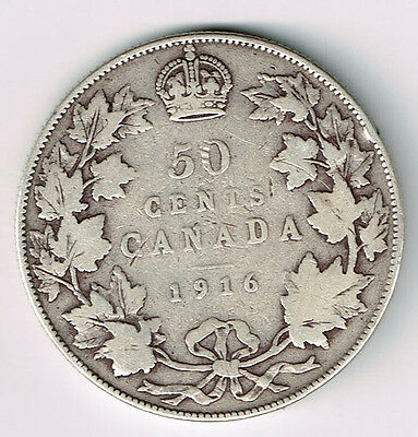 Canada 1916 50 Cents Half Dollar King George V Canadian Sterling Silver Coin