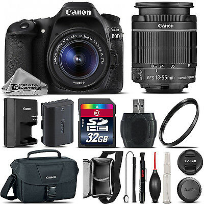 Canon EOS 80D DSLR WiFi NFC Camera + 18-55mm IS STM Lens + Canon Bag - 32GB Kit