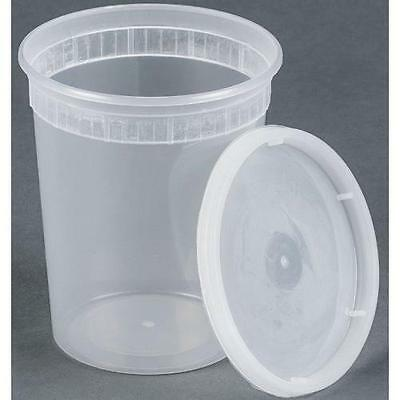 Sets 32oz Plastic Soup/food Container with Lids (12) New