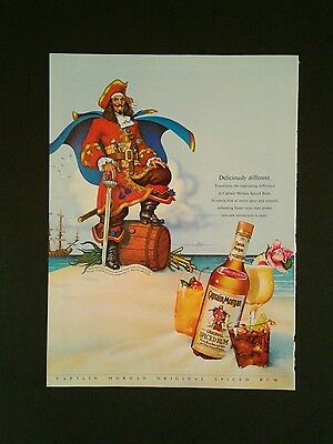 1990 Captain Morgan Original Spiced Rum Bottle Ship Swashbucker Swordsmen AD