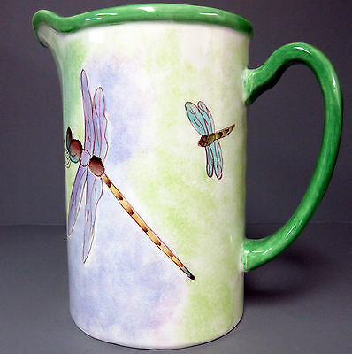 New Ceramic Collectible Dragonfly Pitcher Water Jug 4 Dragonflies Dragon Fly