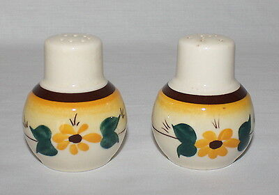 Salt and Pepper Shakers Brown Eyed Susan Yellow Flowers Vernonware Pottery