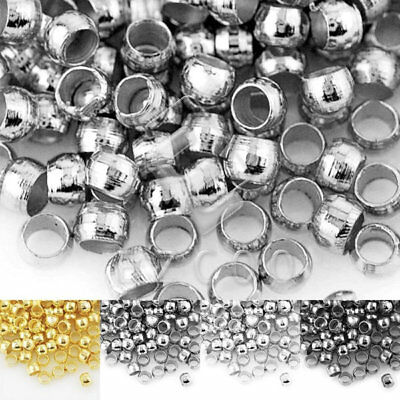 20g Approx 450/750/1500pcs Brass Crimps End Beads Round Loose Spacer Beads BM
