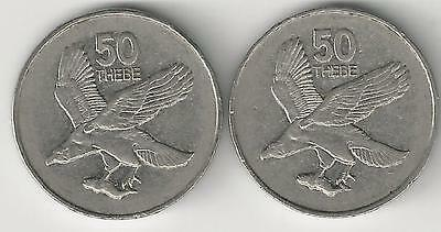 2 DIFFERENT 50 THEBE COINS with EAGLE from BOTSWANA - 1998 & 2001