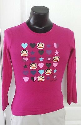 Paul Frank Julius The Monkey Head Hearts Stars Logo T-Shirt Junior S Long Sleeve