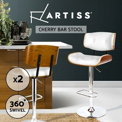 2x Wooden Bar Stool Barstool Kitchen Chair Dining White Pad Gas Lift 8045