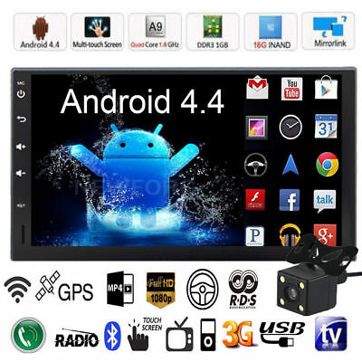 """Quad Core Android 4.4 GPS Car Radio Stereo MP5 Player 7"""" Double 2DIN 3G WIFI+CAM"""