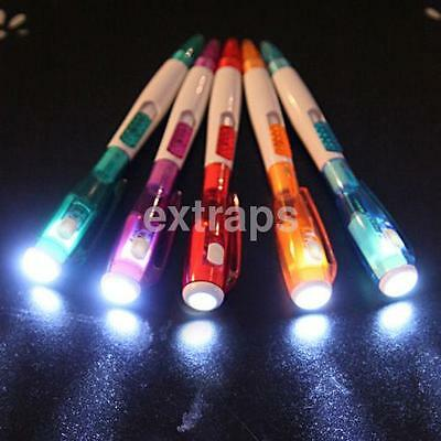 Creative Multifunctional School Office Supplies Ballpoint Pen With LED Light US