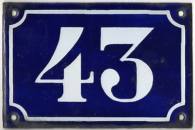 Old blue French house number 43 door gate plate plaque enamel metal sign c1900