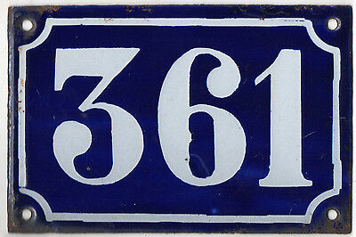 Old blue French house number 361 door gate plate plaque enamel metal sign c1900