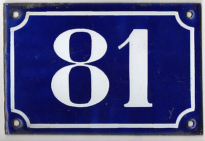 Old blue French house number 81 door gate plate plaque enamel metal sign c1900