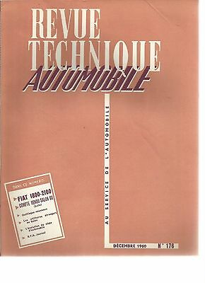 R.t.a. Revue Technique Automobile N° 176 12/ 1960 Fiat 1800 2100 Salon 1960