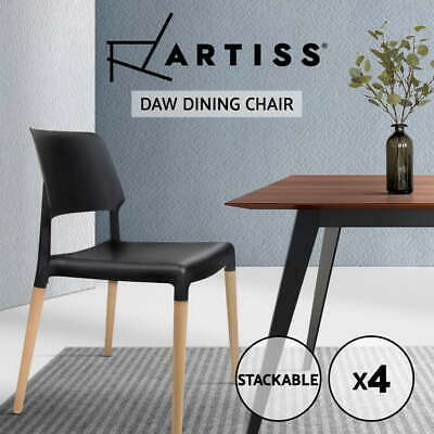 4x Belloch Replica Dining Chair Stackable Designer Wooden Café Bar Kitchen
