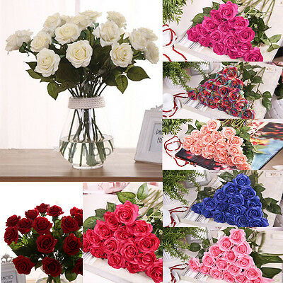 Artificial Fake Roses Silk Flower Wedding Party Bridal Bouquet Home Floral Decor